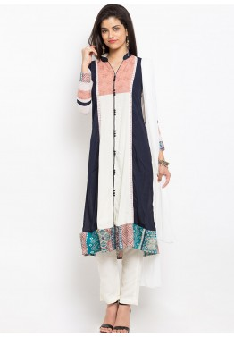 White Readymade Cotton Pant Suit