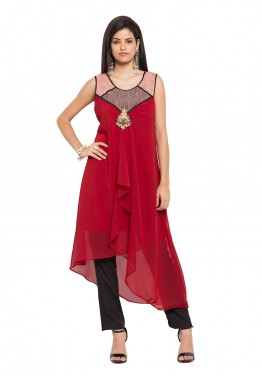 Readymade Maroon Asymmetrical Faux Georgette Tunic