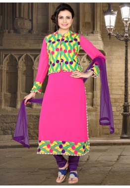 Readymade Pink Georgette Jacket Style Suit