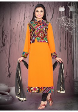 Readymade Orange Georgette Jacket Style Suit