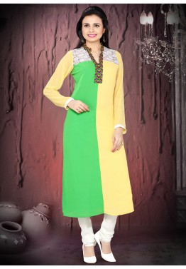 Readymade Yellow Green Faux Georgette Salwar Suit