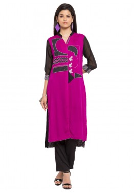Readymade Purple High-Low Faux Georgette Tunic
