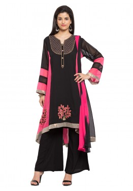 Readymade Black Georgette Kameez with Palazzo