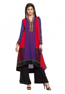 Readymade Multicolored Georgette Kameez with Palazzo