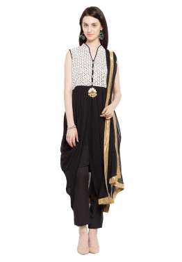 Readymade Black Asymmetric Georgette Pant Suit