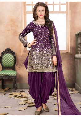 Purple Art Silk Punjabi Salwar Suit with Dupatta