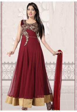 Readymade Maroon Embroidered Net Salwar Suit