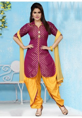 Readymade Magenta Suit with Dhoti Pant
