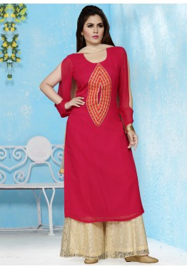 Readymade Magenta Georgette Palazzo Suit