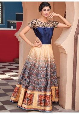 Digital Print Flared Suit in Blue and Beige
