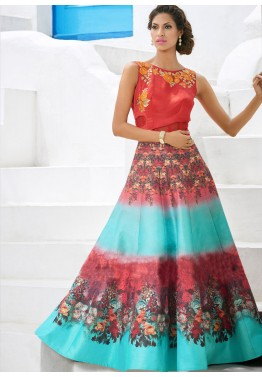 Red and Sky Blue Satin Printed Gown Style Suit