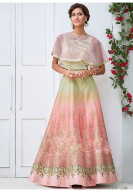 Green and Peach Art Silk Printed Anarkali Suit with cape