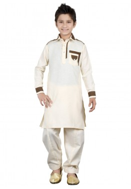 Readymade Cream Kids Linen Pathani Suit