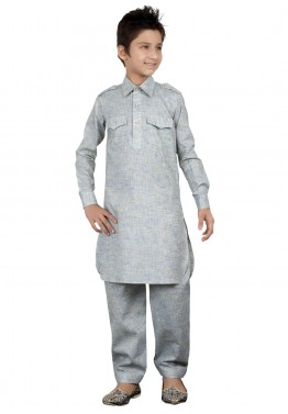 Readymade Grey Kids Linen Pathani Suit
