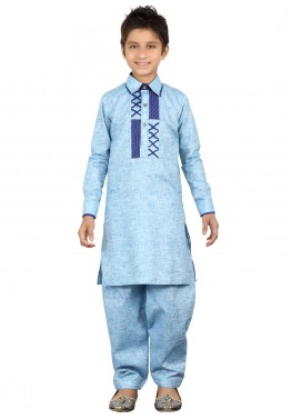 Readymade Blue Kids Linen Pathani Suit