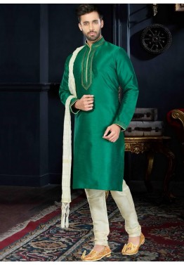 Readymade Green Art Silk Kurta Churidar Set