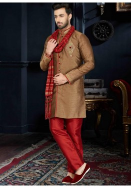 Readymade Brown Art Silk Sherwani