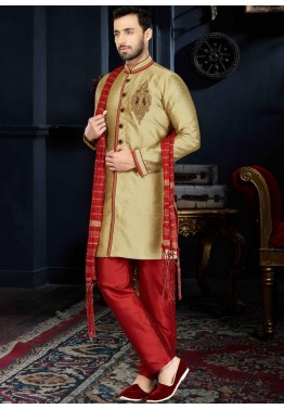 Readymade Golden Art Silk Sherwani
