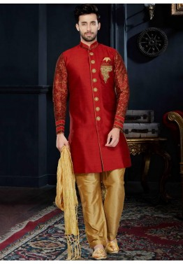 Readymade Red Art Silk Sherwani