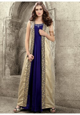 Blue and Cream Velvet and Banarasi Jacket Style Suit