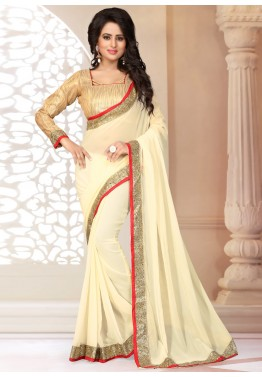 Cream Georgette Saree with Brocade Blouse
