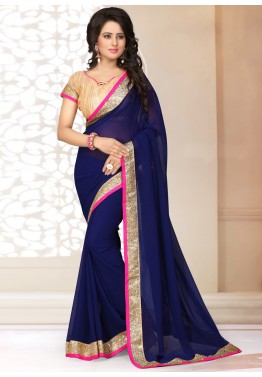 Georgette Saree in Blue with Brocade Blouse