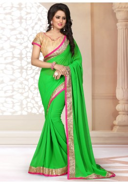 Patch Border Neon Green Georgette Saree