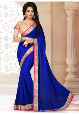 Blue Georgette Patch Border Saree
