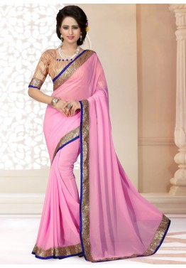 Patch Border Georgette Saree in Pink