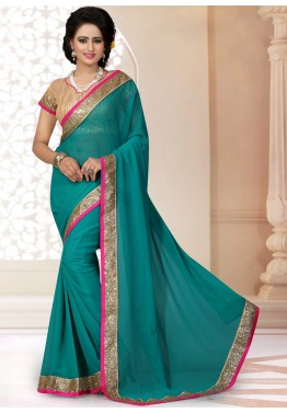 Georgette Patch Border Saree in Turquoise