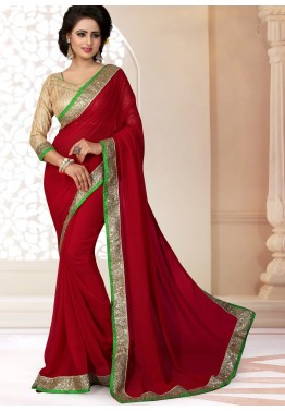 Maroon Georgette Saree with Brocade Blouse
