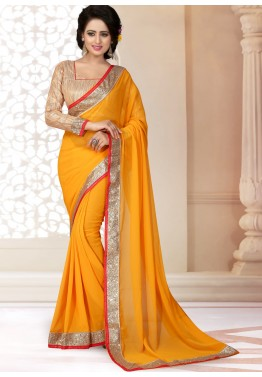 Patch Border Georgette Saree in Yellow