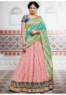 Pink Art Silk Lehenga Choli with Dupatta