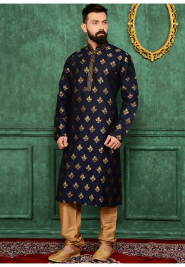 Traditional Indian Men Clothing: Buy Readymade Dark Blue Brocade Kurta Pajama Online
