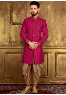 Male Indian Clothing: Buy Readymade Magenta Art Silk Wedding Sherwani for Men Online