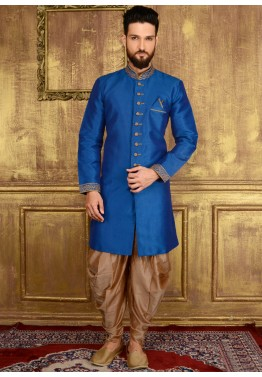 Indian Men Clothing: Buy Readymade Royal Blue Art Silk Sherwani for Men Online