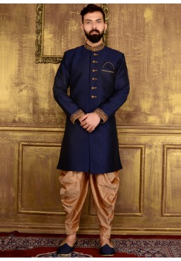 Indian Men Clothing: Buy Readymade Dark Blue Art Silk Wedding Sherwani for Men