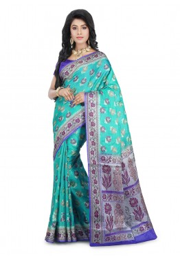 Turquoise Blue Saree in Pure Tussar Silk