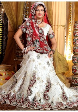 Net White Embroidered Lehenga