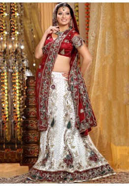Embroidered White Net Lehenga