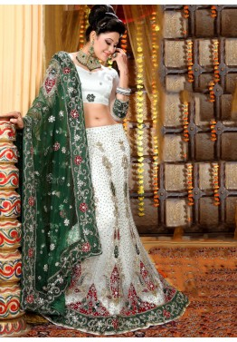 White Net Lehenga Choli with Dupatta