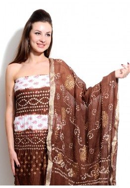 Off White and Brown Cotton Bandhej Salwar Kameez