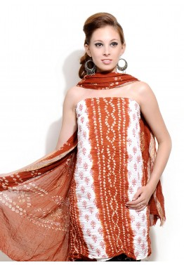 Off White and Orange Cotton Bandhej Salwar Kameez