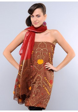 Brown Cotton Bandhej Salwar Kameez