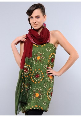 Green Cotton Bandhej Salwar Kameez
