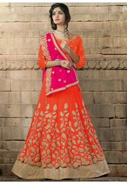 A Line Georgette Orange Lehenga