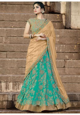 A Line Net Lehenga in Green