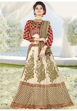 Cream Lehenga Choli with Dupatta