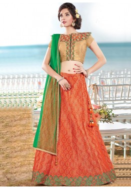Orange Silk Lehenga with Dupatta