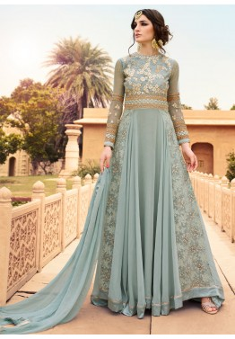 Flared Grey Georgette Anarkali Suit